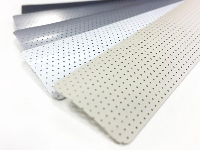 A perforated venetian blind slat